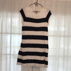 stripe cotton dress with gold accents